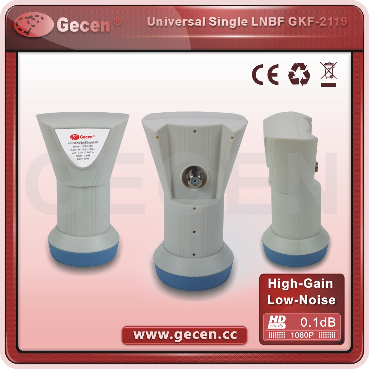 2016 Gecen Universal Ku-Band Single LNBF Model GKF-2119