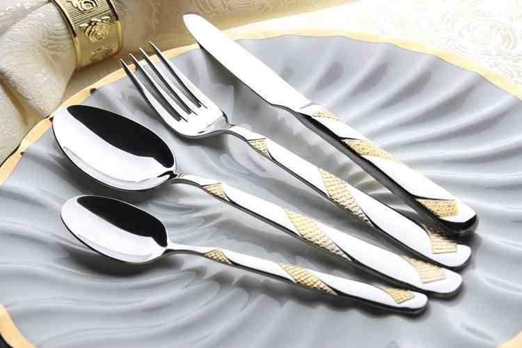 Wholesale Flatware Set Gold plated Dinner Spoon& Fork Cutlery Set