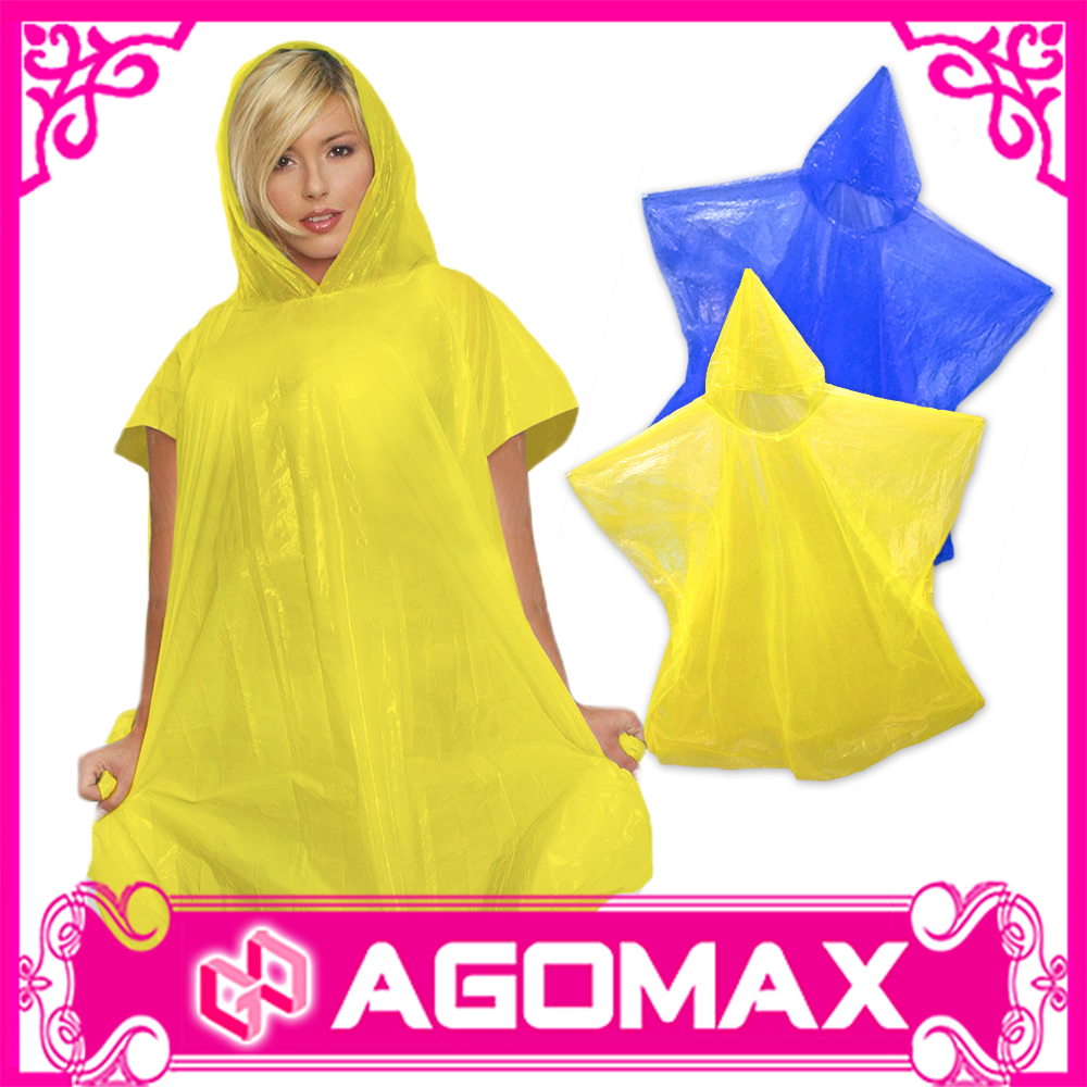 Custom printed cheap raincoat plastic PE disposable rain poncho