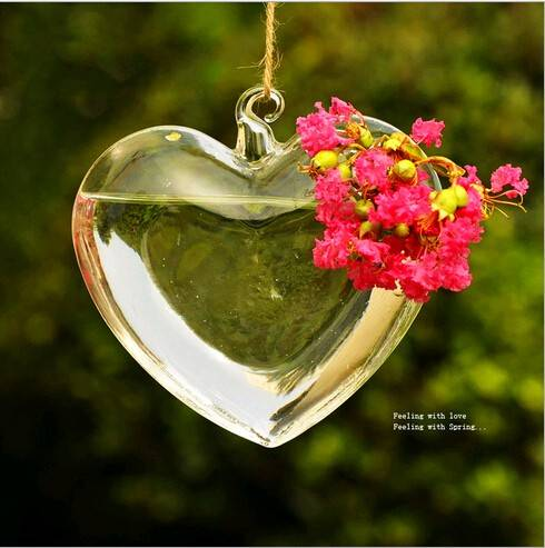 heart shape clear glass vase/hanging glass terrarium