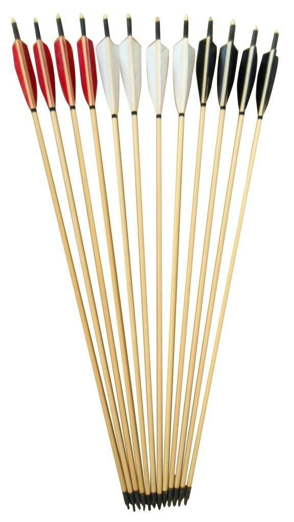 Generic Handmade Wooden Arrows Color Black and White Pack of 12