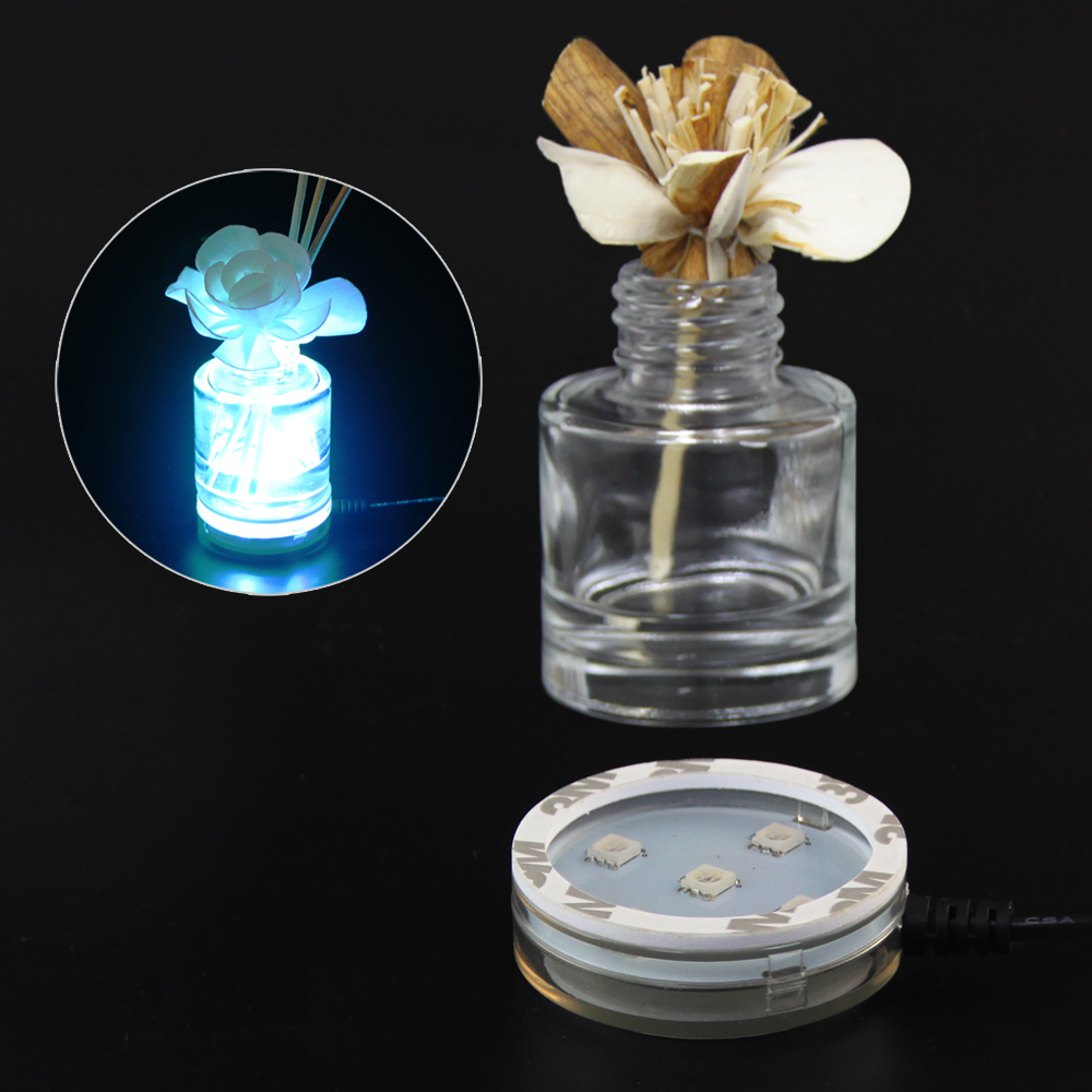 USB Powered Round LED Light Base for Air Fresheners or Reed Diffusers with 7 Changing Lighting Color