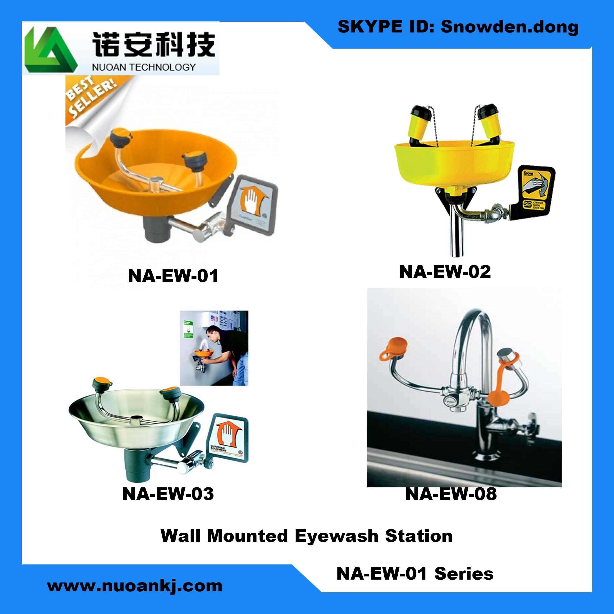 Wall mounted eyewash station
