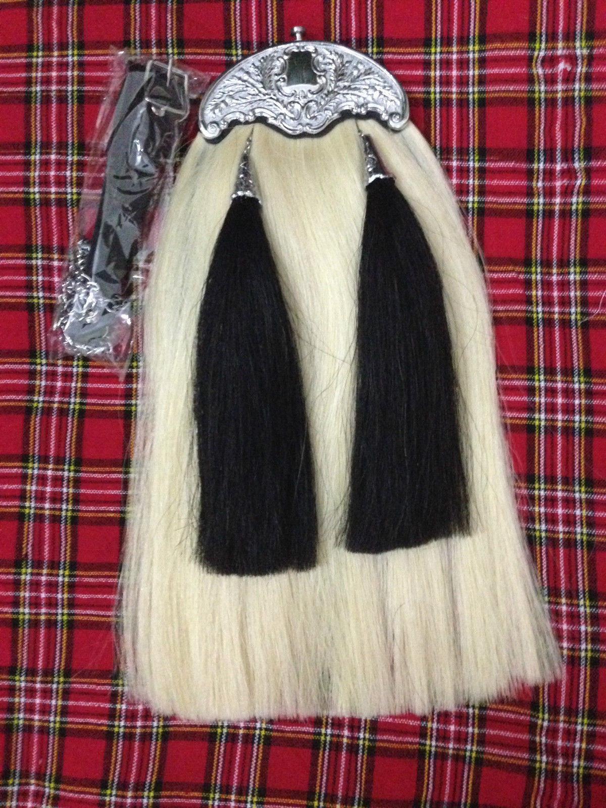 Handmade Original Long Horse Hair Sporran with Two Black Tassels