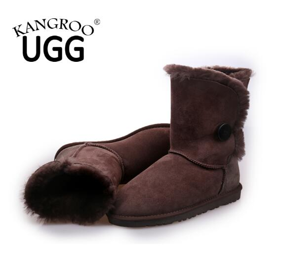Classic Sheepskin Women Boot with Single Button in Chocolate
