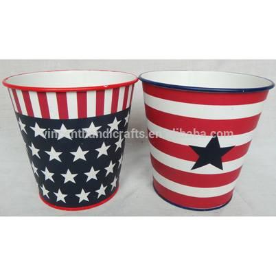 Star painted design customized vintage metal tin bucket
