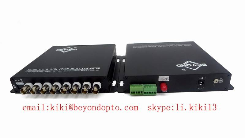 720P/1080P 8ch HDCVI digital video to fiber converter with audio for CCTV camera