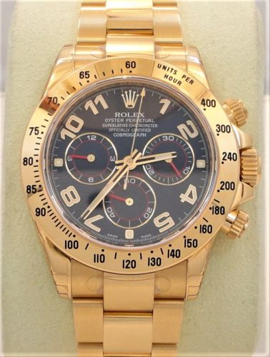 New Rolex Daytona 116528 18k Yellow Gold Blue Dial Cosmograph