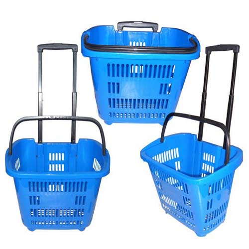 Plastic Shopping Basket With 2 Wheels 45L And Telescopic Handle