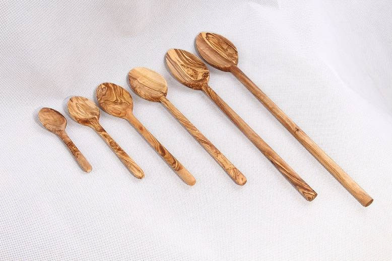 Olive wood Spoons with round handle
