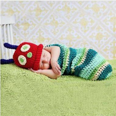 Crochet Baby Hat and Pants Colourful Caterpillar Baby Gift Photography Props