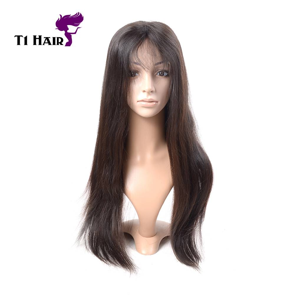 T1 Hair 7A Brazilian 180% Density Free Part Silk Base Front Lace Wig Straight Virgin Hair Extension
