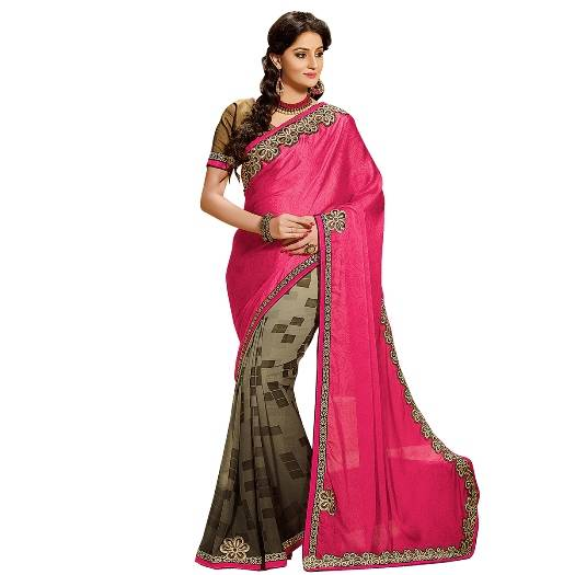 Shonaya Pink & BrownColour Georgette Embroidered Sarees With Blouse PieceSGDN2-4854