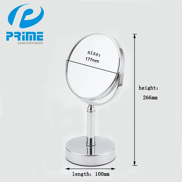 Promotional chrome vanity girl two side makeup mirror with magnifying glass