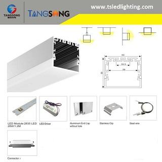 Pendant LED Linear Light 3000K,4000K, 5000K, 6000K CCT DALI dimmable Suspended linear lighting