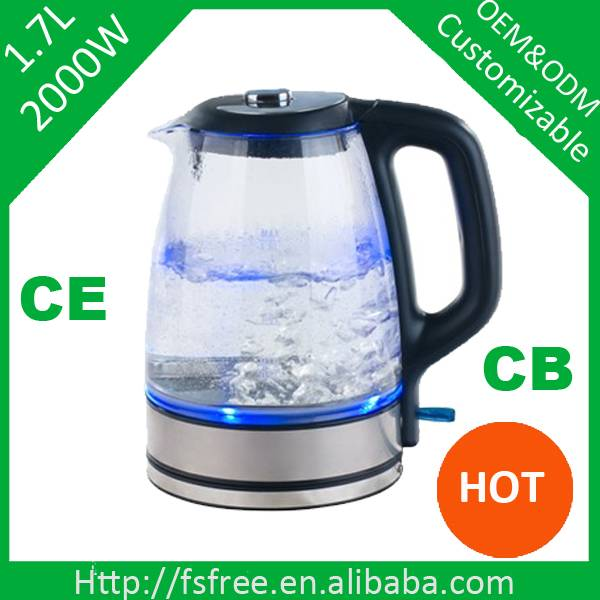 Glass electric kettle light up blue electric kettle