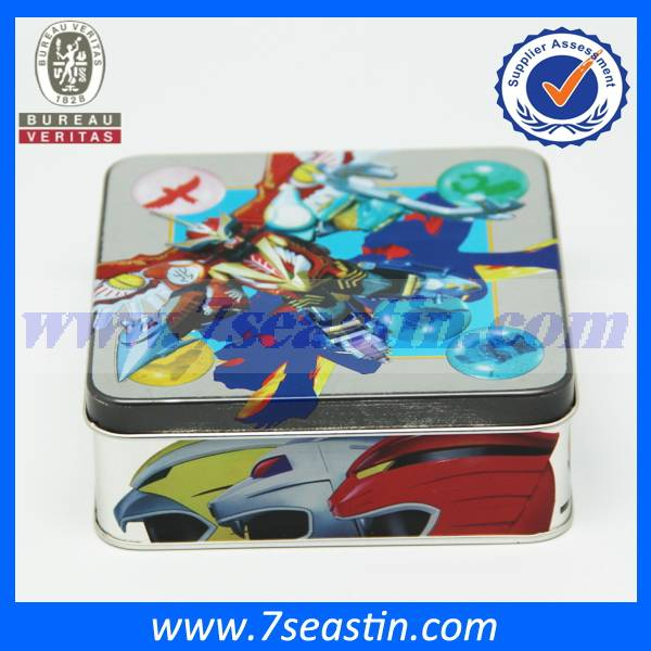 wholesale square hand-draw printing gift packaging cosmetic tin box&embossed metal cans