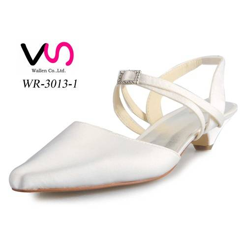 Small heel pointy shoe toe elegant bridal wedding shoes