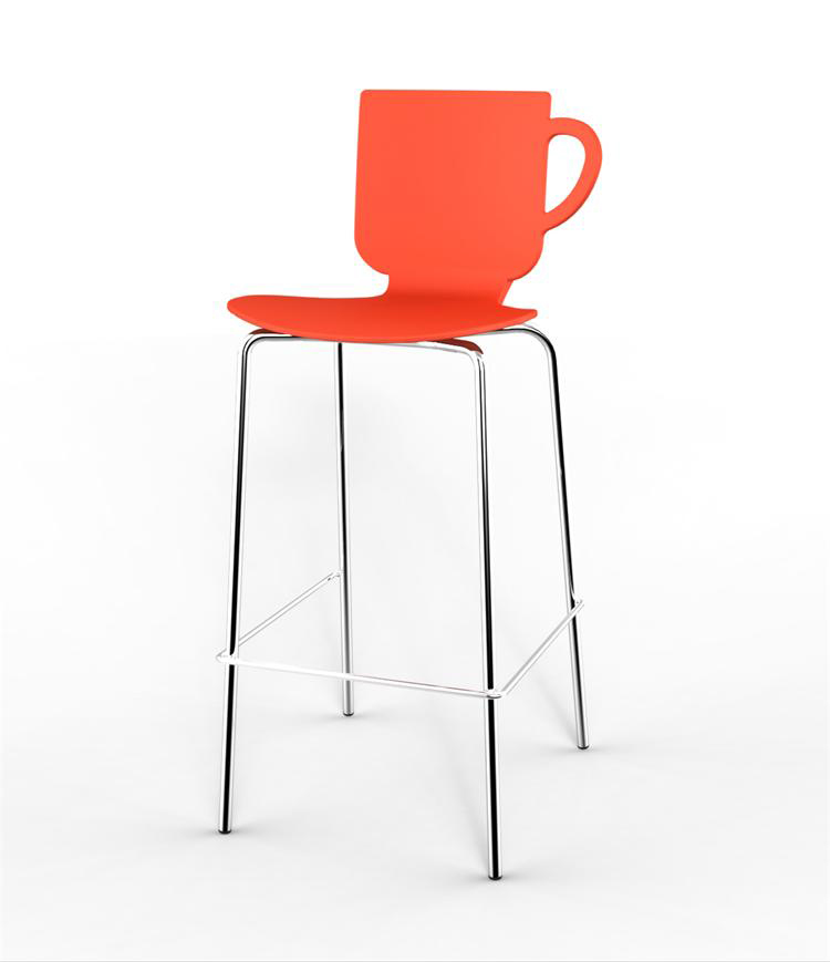 Modern Design Cup Shape Plastic High Bar Stool Chair