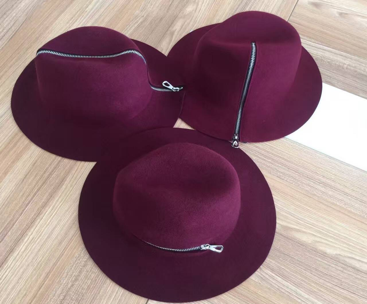Fashion Wool Felt Hats in Burgundy Color