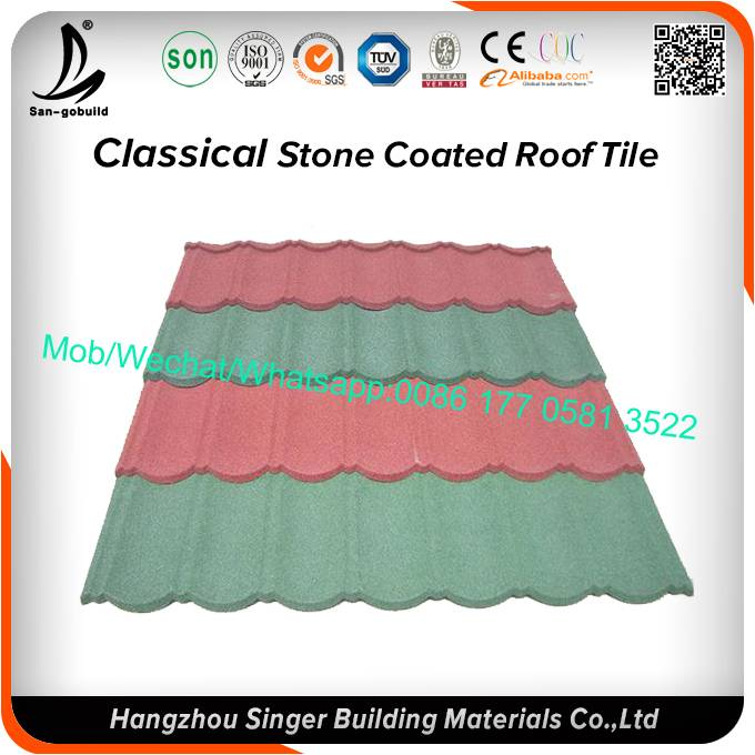 Factory SONCAP classic type stone coated metal roof tile/ISO colorful stone coated metal roofing shi