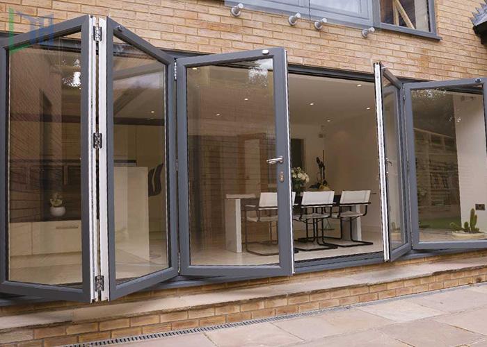 Double glazed insulated/energy saving aluminum bi folding door