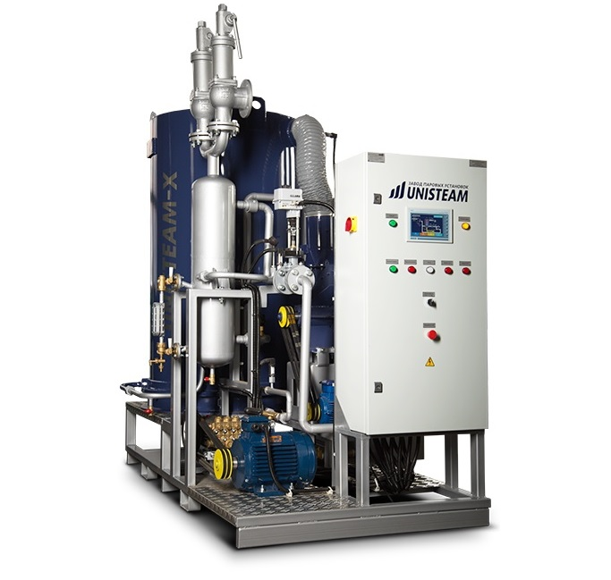 UNISTEAM-X PREMIUM 2500 gas and diesel steam boiler for laundries and textile industry