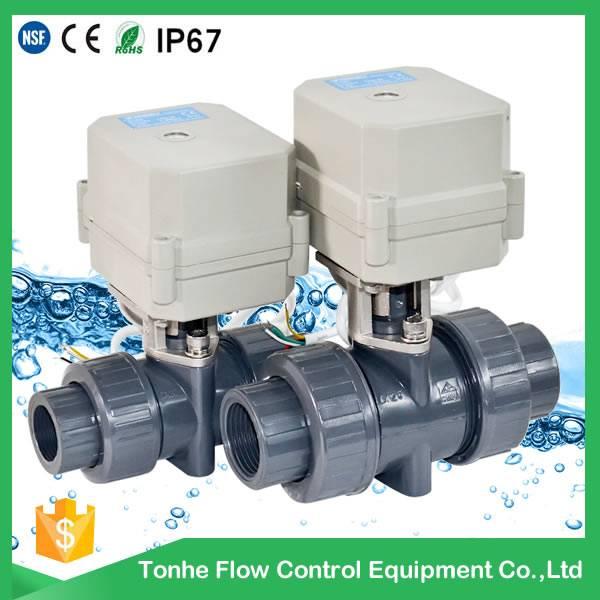2016 D25 plastic PVC toilet shut off electric ball valve wholesale