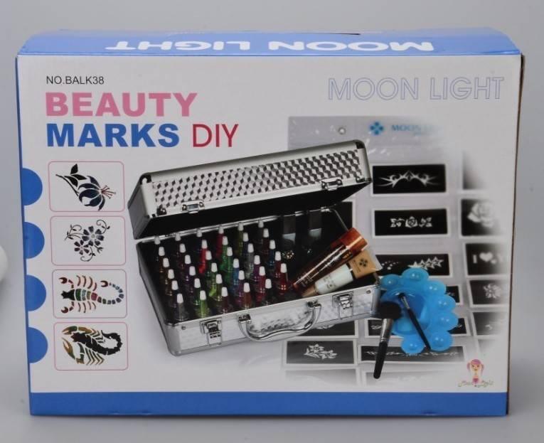 Moon light Temporary tattoos-Glitter Tattoo kit 38 color/brushes/glue/stencil