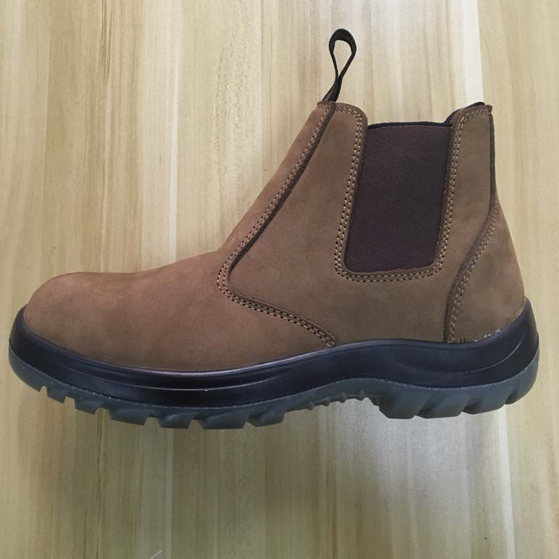 high cut genuine leather upper PU sole no lace safety shoes