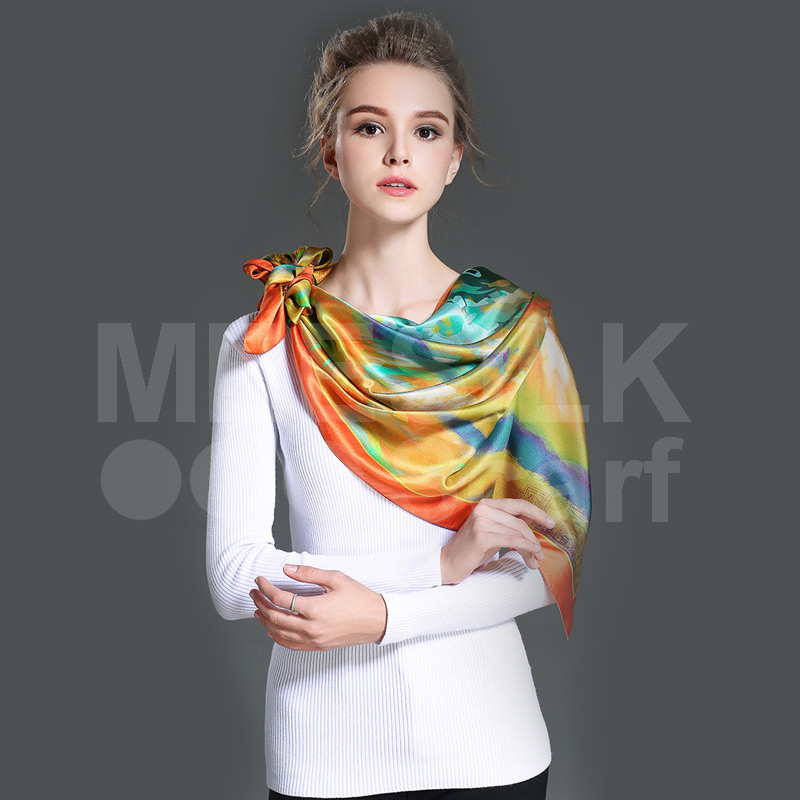 100% Silk Eleganet Silk Scarf Printed Square Silk Women Scaves