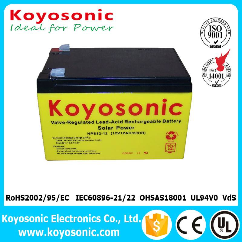 High Efficiency 12v 12ah Solar Energy Battery For Solar Power System