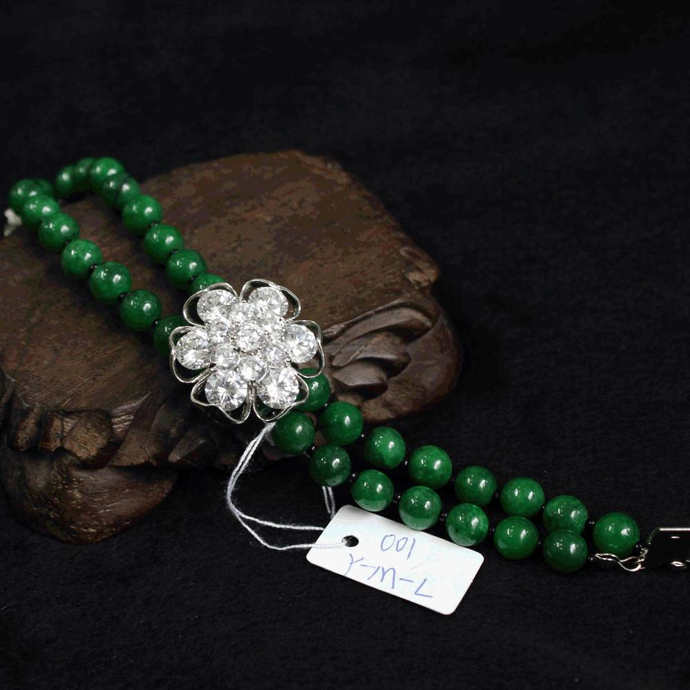 Wholesale women dual-use green jade with 925 silver bracelet