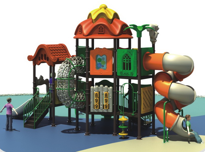 Two layers of outdoor plastic playground equipment