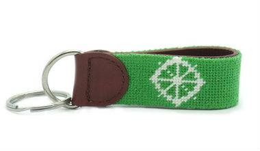 Green needlepoint key fob with red leather color key chains