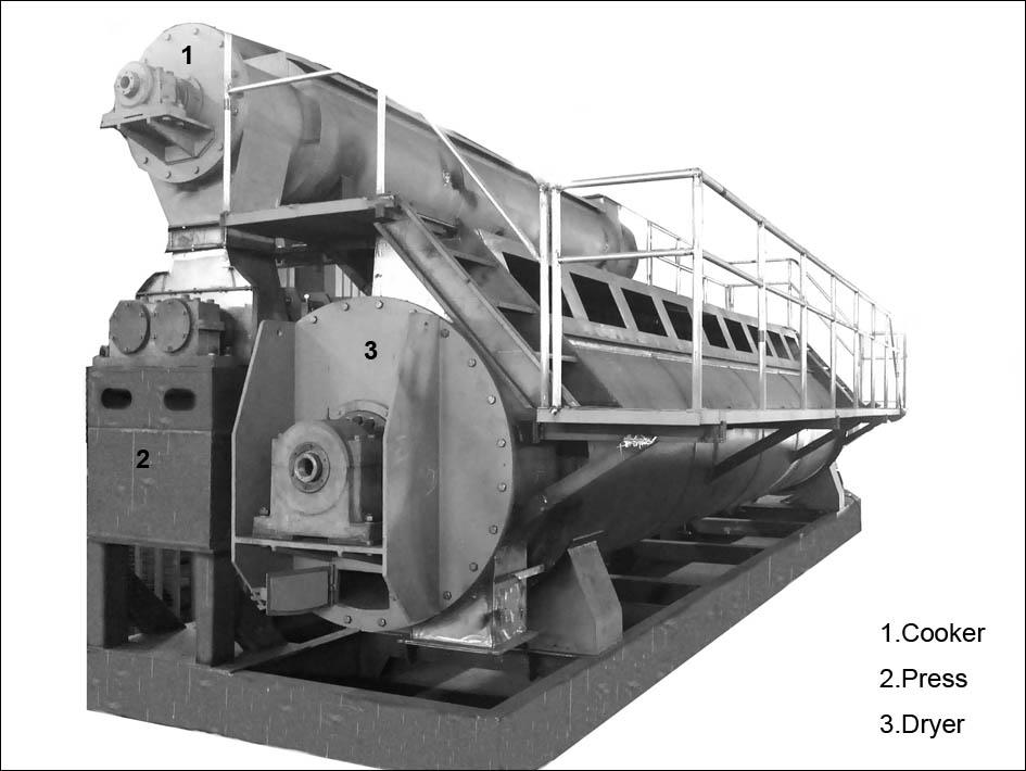 Compact fishmeal production line