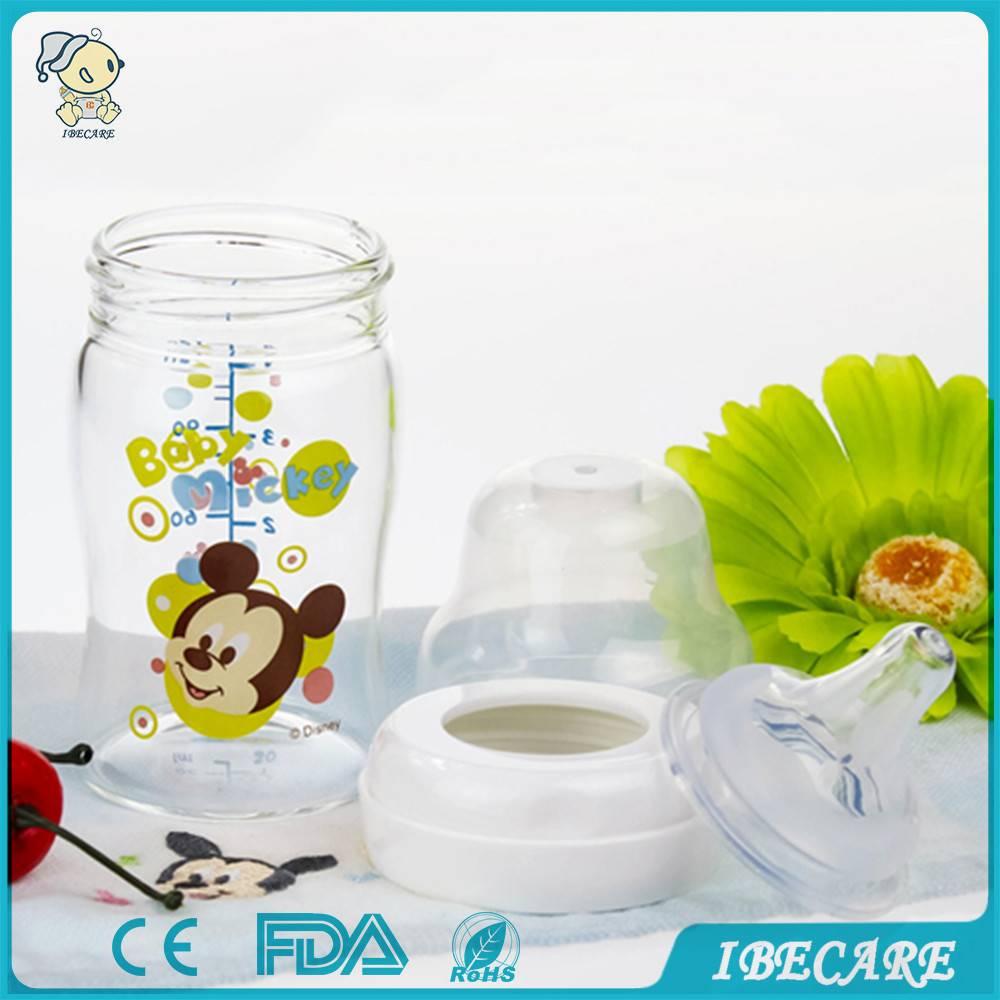 Glass baby feeding bottle