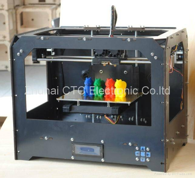 3D Drucker Black Bzier Black Casing CTC 3D printer with 2 head (dual-extruder)