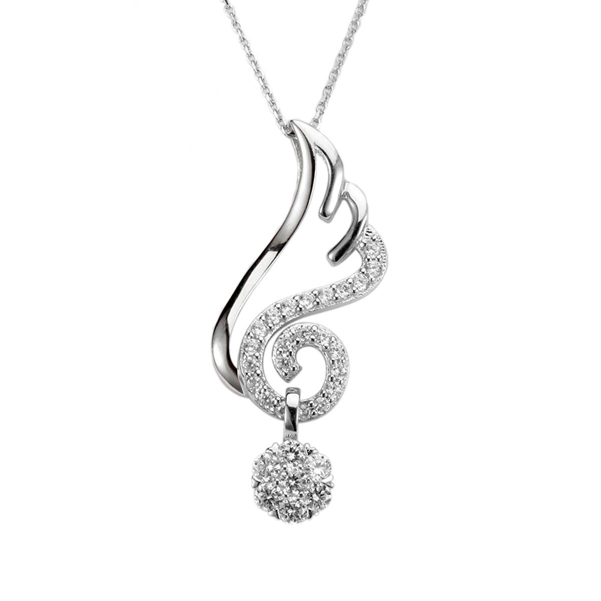 Fashion Women Jewelry 925 Silver Angel Wing Necklace Angel's Tempt Pendant for Women Birthday Gift
