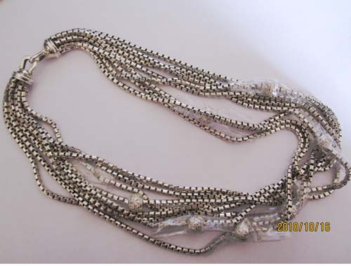 Sterling Silver Jewelry 8 Row Box Chain Necklace (N-026)