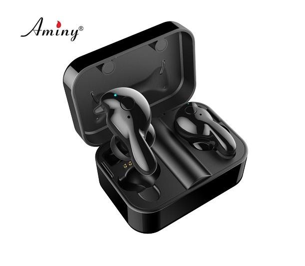 Aminy BT wireless earphone stereo music headphone TWS 5.0 waterproof true wireless earbuds with char