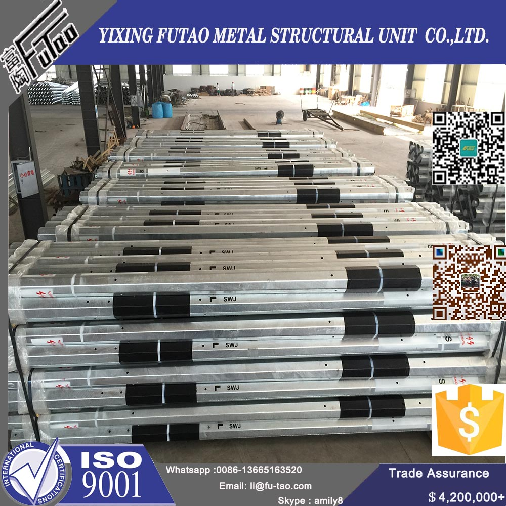 Galvanized steel electric power pole transmission line pole