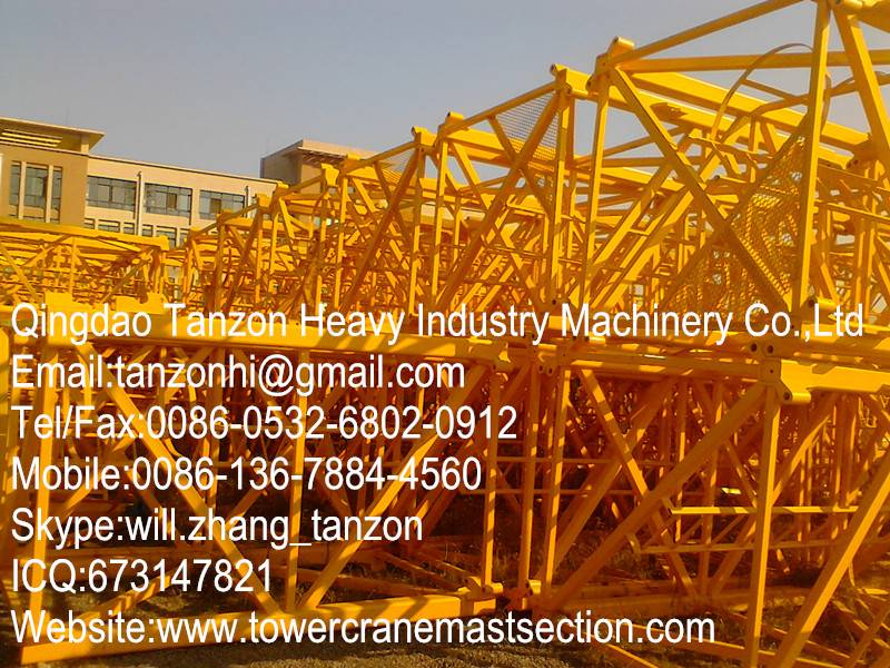 flat head tower crane structural steel mast section / steel plate mast section