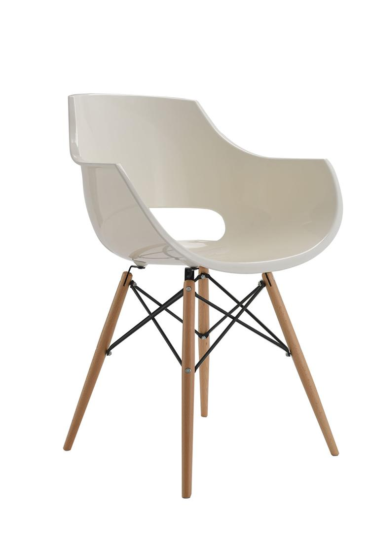 Cheap Price Solid Wood Dining Chair White Plastic Arm Chairs