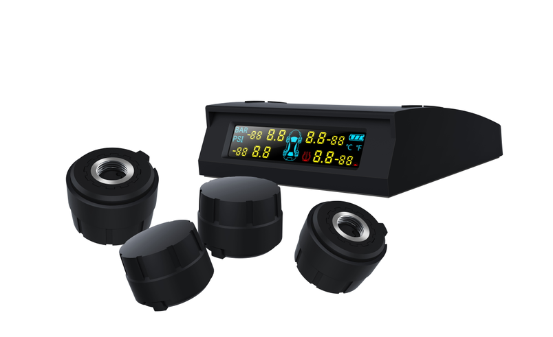 Wireless TPMS Rechargeable Solar panel Auto Tire Pressure Monitoring System+4 External TPMS sensor