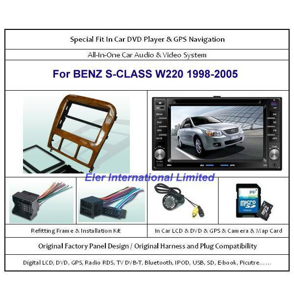 BENZ S-CLASS W220 1998-2005 Car DVD Player GPS Navi / Original Factory  Panel / Camera / Map Card