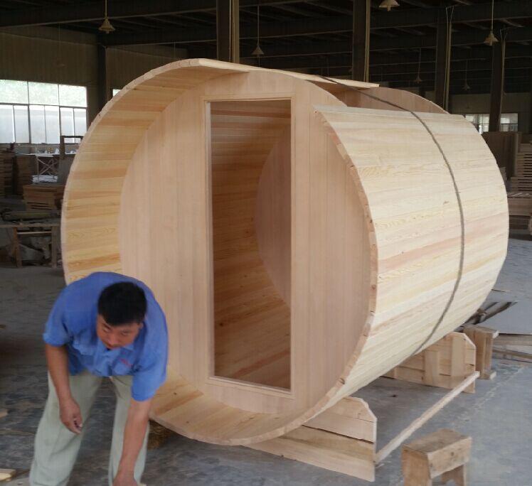 wooden outdoor barrel wet steam sauna room