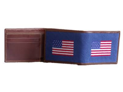 American flag navy blue needlepoint full wallet with 4 card pockets