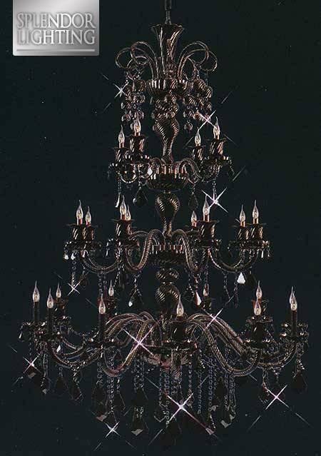25-Light Lead Crystal Black Chandelier for Ballrooms