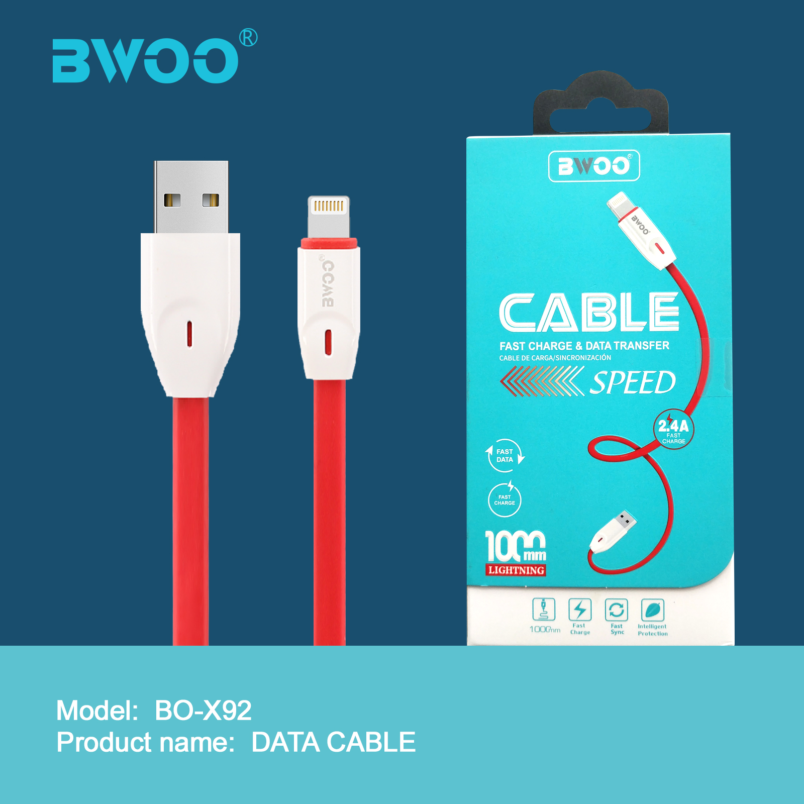 BWOO TPE USB Charging cable with lightning micro type c connector